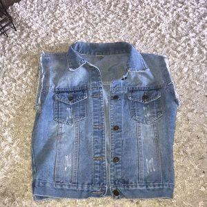 Jackets & Blazers - Distressed Jean Denim Vest